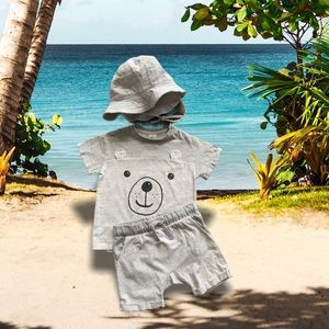 3 Piece H&M Baby Bear 🐻 Shorts ,Shirt and Hat